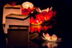 Floating Lotus Flower Paper Lanterns On Water Royalty Free Stock Image