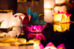 Floating Lotus Flower Paper Lanterns On Water Royalty Free Stock Images