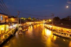 Floating market. On night, Amphawa Thailand Royalty Free Stock Photography
