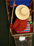 Floating market. Rowing woman at floating market, Thailand Stock Photo