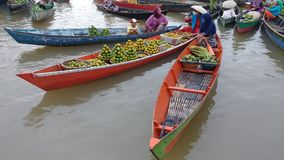 Floating Market activity. Floating market at loh Baintan Activity women Royalty Free Stock Photo