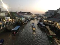 Floating market. Amphawa floating market, Thailand Stock Photo