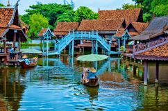 FLOATING MARKET4. Area near Bangkok , called Ancient Siam, was built in the shape of Ancient  Siam Empire,with all important buildings and temples,showing how Royalty Free Stock Photo
