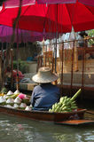 Floating Market Banana and coconut seller Royalty Free Stock Image