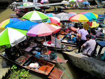 Floating Market Bangkok. Amphawa floating market in Bangkok, Thailand. Hawkers are selling food with customers ordering from them stock image
