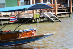 Floating market in Bangkok, tourists boat trip. In river of Thailand Stock Image