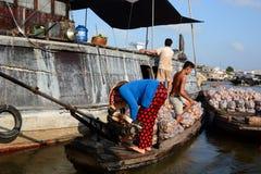 Floating market. Cai Be. Vietnam Royalty Free Stock Image