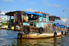 Floating market. Cai Be. Vietnam Royalty Free Stock Images