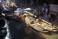 The Floating Market at Damnoen Saduak outside of Bangkok, Thailand Royalty Free Stock Photo