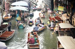 Floating market, Damnoen Saduak, Thailand Stock Photos