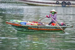 Floating market Ha Long Bay, Vietnam Stock Image