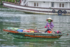 Floating market Ha Long Bay, Vietnam Royalty Free Stock Images