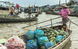 Floating market on the Hau River. Royalty Free Stock Images