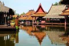 Floating market in historical park Ancient City. Bangkok, Thailand Stock Images