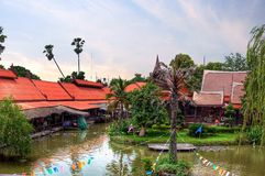 Floating market in historical park Royalty Free Stock Photos