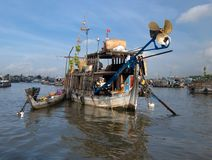 Floating market,Mekong-Delta. A boat with Fruits on the floating market,Mekong-Delta,Vietnam Stock Photos