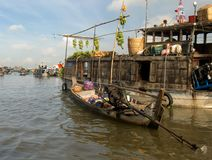 Floating market,Mekong-Delta. A boat with Fruits on the floating market,Mekong-Delta,Vietnam Stock Photography