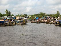 Floating market,Mekong-Delta. A boat with Fruits on the floating market,Mekong-Delta,Vietnam Stock Images