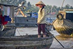 Floating market, Mekong Delta, Can Tho, Vietnam. Sales woman at the floating market in the Mekong delta, Can Tho, Vietnam Stock Image