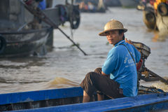 Floating market, Mekong Delta, Can Tho, Vietnam Royalty Free Stock Photos