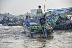 Floating market, Mekong Delta, Can Tho, Vietnam Royalty Free Stock Photo