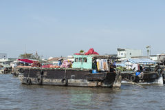Floating market in the Mekong river, Vietnam Royalty Free Stock Photos