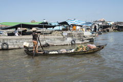 Floating market in the Mekong river, Vietnam Royalty Free Stock Images
