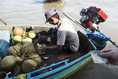 Floating market in the Mekong river, Vietnam Stock Photos
