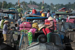 Floating Market on the Mekong Royalty Free Stock Photos