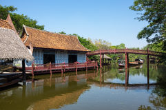 Floating market in Mueang Boran Royalty Free Stock Photo