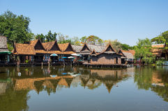 Floating market in Mueang Boran Royalty Free Stock Image