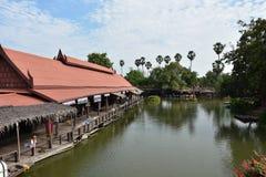 Floating market named `Ayothaya`. In thailand Royalty Free Stock Photography