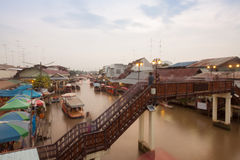 Floating market at night in Amphawa, Samut Songkhram , Thailand. Stock Image