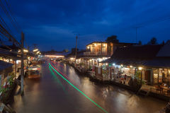 Floating market at night in Amphawa, Samut Songkhram , Thailand. Stock Photos