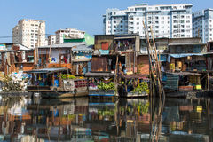 Floating market with reflection in water. Stock Image