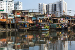 Floating market with reflection in water Stock Image