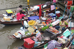 Floating market. Selling food in floating market Stock Image