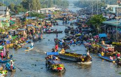Floating market in Southern Vietnam stock image