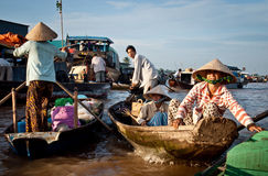 Floating market on th e Mekong Delta Royalty Free Stock Photo