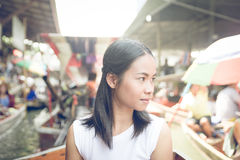 Floating market. Thai girl at the floating market Royalty Free Stock Photos