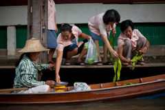 The floating market in Thailand Stock Photography