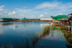 Floating market thailand stock image