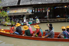 Floating market in Thailand. Pattaya floating market another attraction destination for travelers Stock Photo