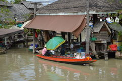 Floating market in Thailand. Pattaya floating market in Thailand enjoy the fruits and foods store Stock Photography