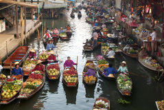 Floating market in Thailand. Stock Photos