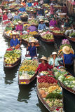 Floating market in Thailand. Stock Photo