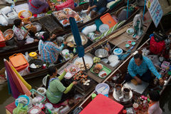 Floating market. In Thailand selling sea food Royalty Free Stock Image