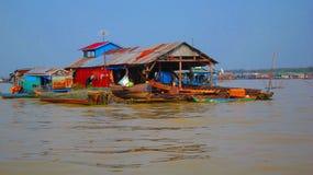 Floating market on Tonle Sap, Cambodia. Boat journey from Battambang stock image