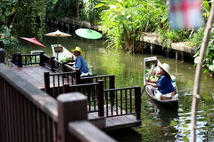 Floating market. A tourist attraction in Thailand royalty free stock photography