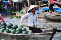 Floating market in Vietnam Stock Image